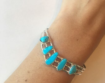 Turquoise and Sterling V Cuff