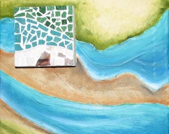 Mouvance2 original mixed media art landscape painting aerial mosaic turquoise-beige-green 3D - deco art to embellish