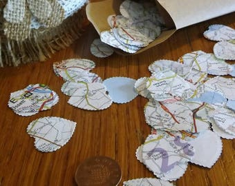 300 Table Confetti Hearts made from Old Ordnance Maps