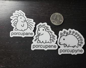Porcupane Porcupene Porcupyne Stickers