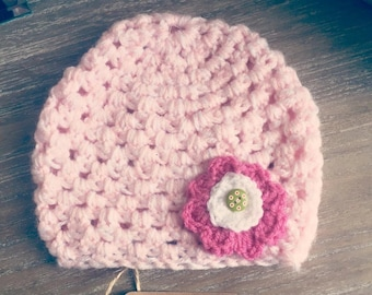 Crochet Flower Button Hat Age 2-3