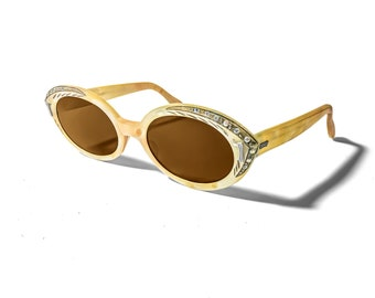 b7df5d0348d96 Vintage 1950s Cateye Styl Rite Sunmodes Yellow With Brown Lenses Made In  USA SRO