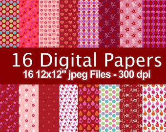 American Little Girl - Digital Paper - 16 jpeg files 300 dpi - 12x12 inches - Instant Download