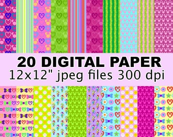 Minnie Mouse Bowtique - Digital Paper - 20 jpeg files 300 dpi - Minnie Mouse Bow Tique