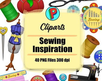 Sewing Inspiration Clipart - 40 png files 300 dpi - For Cardmaking, Scrapbooking, Party Decorations and More
