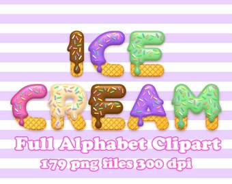 Ice Cream - Alphabet Clipart - 179 png files 300 dpi - 5 colores - 5 full alphabets for Cardmaking, Scrapbooking, Party Decorations and More