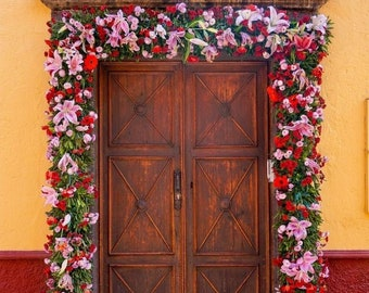 San Miguel de Allende Print- Photo art, Mexico Print, Floral Wall Art, Floral Prints, Architecture Photography, Bright Wall Art, Door Photo
