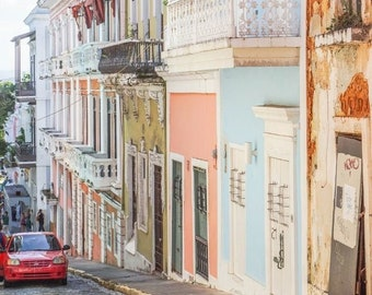 Puerto Rico Photography- Old San Juan Wall Art, Digital Prints, Pretty Cities, Colorful Buildings, Travel Architecture Photography