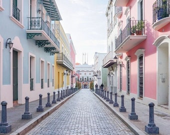 Puerto Rico Wall Art Digital Prints- Old San Juan Photography, Colorful Buildings, Home Decor, Architecture Photography, Bright Wall Art