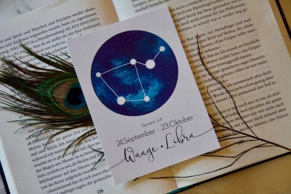 Card Waage Libra Star Sign | Etsy