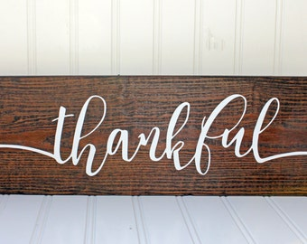 Wooden Thankful Sign