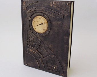 Exclusive steampunk notebook, steampunk journal, steampunk book, handcrafted gift for him and her, brutal journal, personalization gift