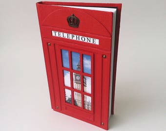 Red Telephone Booth journal, London journal, exclusive red telephone box journal,gift for her and him, vegan notebook, telephone booth