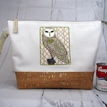 Large Knitting Crochet Project Bag with Handle and Zipper. Embroidered Celtic Owl. Wedge.