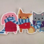 Knitting Cat Fox and Bunny Embroidered Patch. Embroidered Applique. Sew On Patch. Glue On Patch. Fox Patch