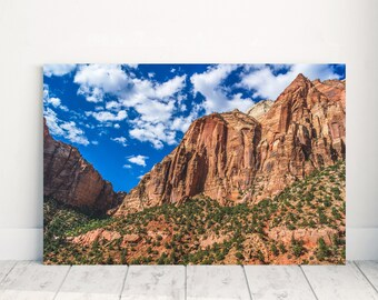 Fine Art Photography - Zion National Park - Utah - Photography - Mountain - Landscape - Print - Wrapped Canvas - Blue Skies - Photo
