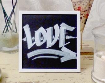 Love - Oil painting white - handmade