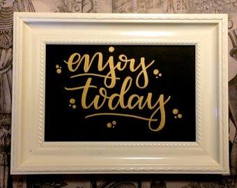 Enjoy Today - Golden oil painting - handmade