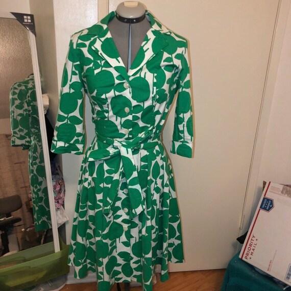 Boden Green apple vintage dress
