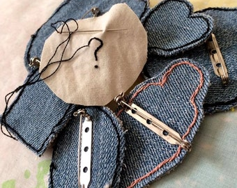 Mystery Surprise Pin or Patch - Hand Embroidered