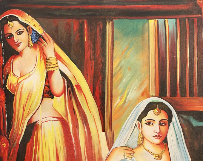 Two Ladies in Saree, Art of Rajasthan, Mixed Media