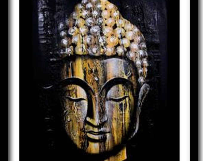 Buddha Painting on Canvas, Buddha Wall Art, Zen Painting, Large Wall Art, Spiritual, Wall Decor, Buddha Face; Ready To Hang!!