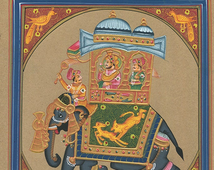 Elephant Blue Frame, Art of Jaipur, Mixed Media