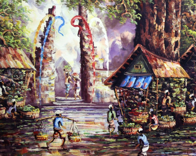 The Balinese Farmer's Market: Giclee on Stretched Canvas of Traditional Balinese Painting; Ready to Hang!!