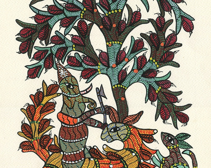 Red and Teal Tree, Gond Artwork, Original Acrylic.