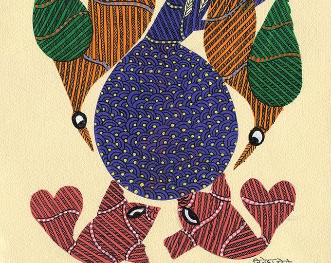 Red Fish, Gond Artwork, Original Acrylic.