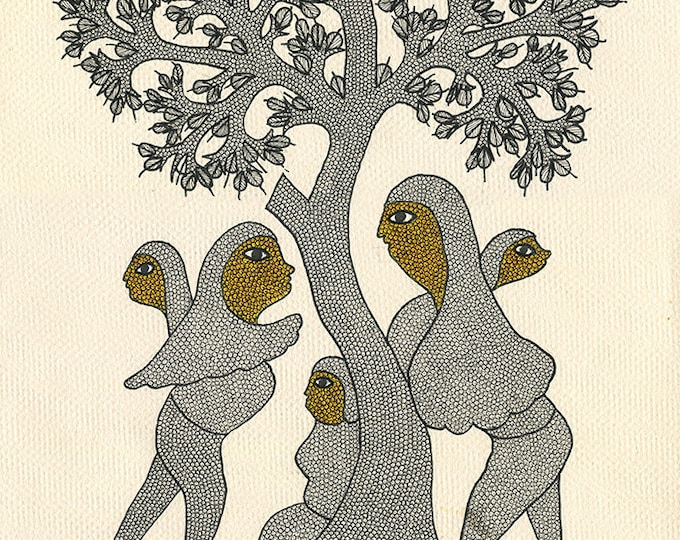 Togetherness, Gond Artwork, Original Acrylic.