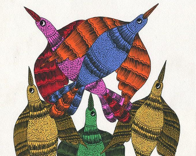 Multi-Color birds, Gond Artwork, Original Acrylic.