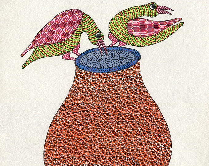 Red Vase, Gond Artwork, Original Acrylic.