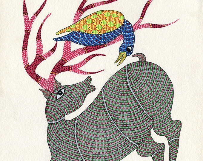 Reindeer, Gond Artwork, Original Acrylic