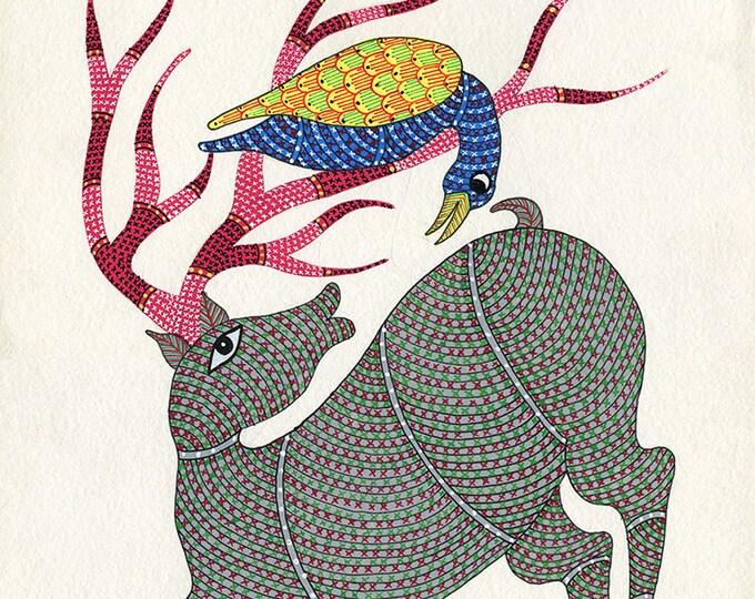 Reindeer, Gond Artwork, Original Acrylic