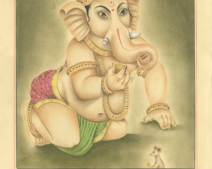 Elephant God and Mouse, Art of Jaipur, Mixed Media