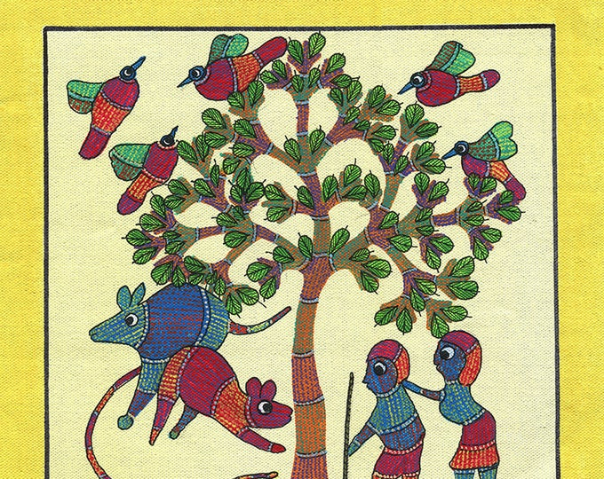 Microcosm of the Tribal World, Gond Artwork, Original Acrylic.