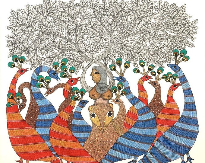 The thread of Life by Rajendra Shyam, Gond Artwork, original acrylic
