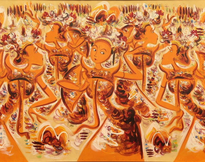 Dance of life, Indonesian Artwork, Mixed Media, Streatched Canvas Giclee of Traditional Oil on Canvas Balinese Painting; Ready to Hang!