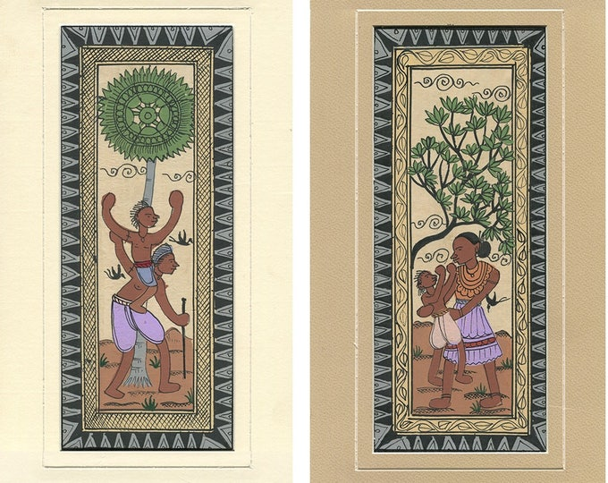 Family Under Tree (Set of 2), Art of Rajasthan, Mixed Media