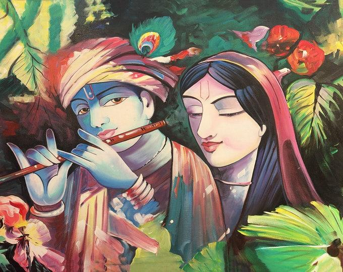 Krishna Radha, Raw Stitch, Art of Rajasthan