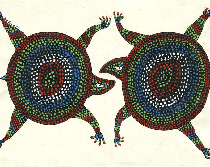Turtles, Gond Artwork, Original Acrylic.