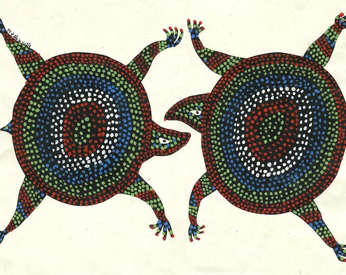 Turtles, Gond Artwork, Original Acrylic.