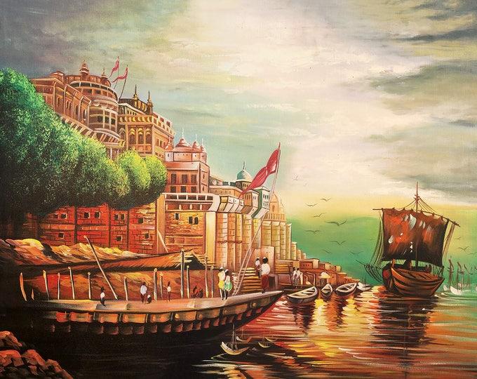 Port of Banaras, Indian Artwork, Mixed Media