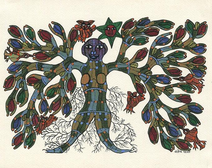 Femaletree, Gond Artwork, original acrylic