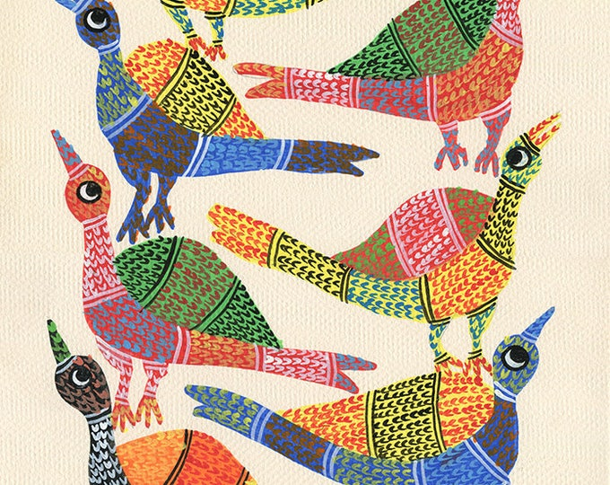Birds of Different Feathers Flock Together Here,  Gond Artwork, original acrylic