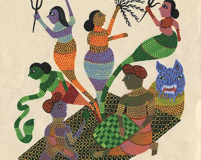 Goddesses, Gond Artwork, Original Acrylic.