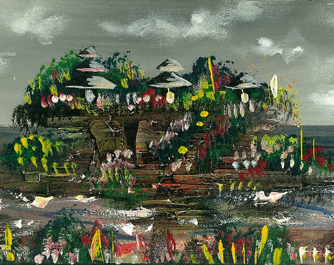 Lightning at Tanah Lot, Indonesian Artwork,Streatched Canvas Giclee of Traditional Oil on Canvas Balinese Painting; Ready to Hang!
