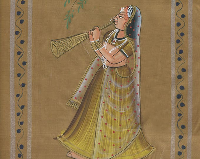 Woman with Flute, Gold Fabric, Art of Jaipur, Mixed Media