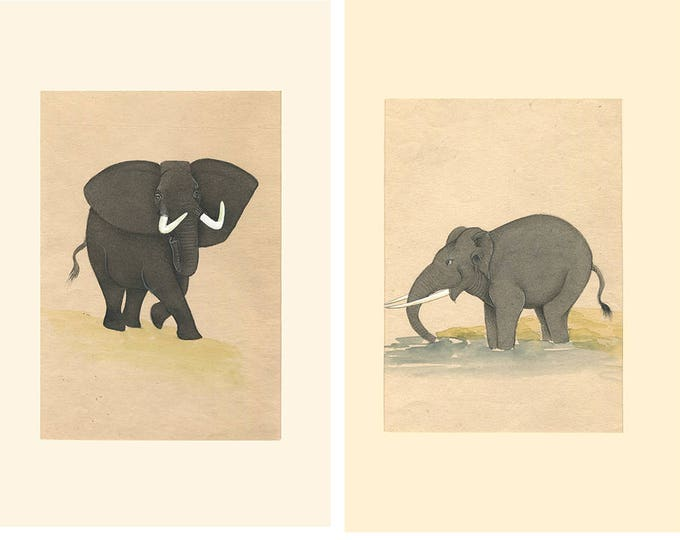 Elephant in Water, Art of Jaipur, Mixed Media